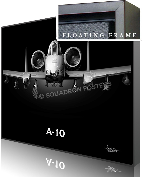 A-10 Jet Black Warthog Nose SP00979-featured-canvas-framed-aircraft-lithograph