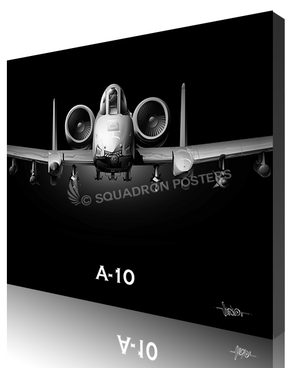 A-10 Jet Black Warthog Nose SP00979-featured-canvas-lithograph.