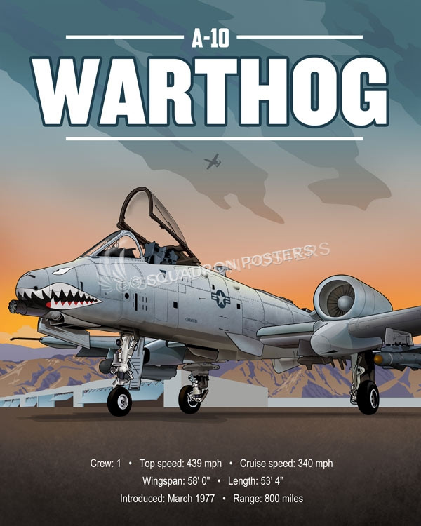 Warthog parked A-10_parked_SP01050-featured-aircraft-lithograph-vintage-airplane-poster-art