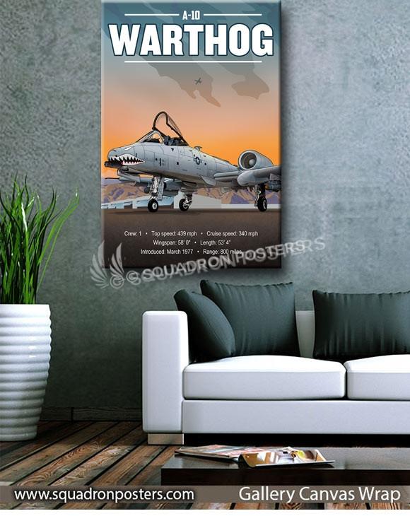 A-10_parked_SP01050-squadron-posters-vintage-canvas-wrap-aviation-prints