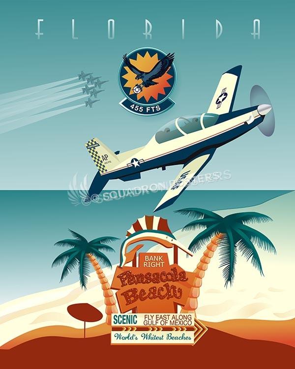 AF Pensacola 455-FTS T-6 SP00633-vintage-military-aviation-travel-poster-art-print-gift