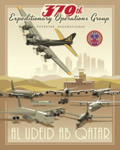 Al Udeid - 379th Air Expeditionary Operations Group B-52 Al_Udeid_B-17_379_EOG_b-52-SP01405-featured-aircraft-lithograph-vintage-airplane-poster-art