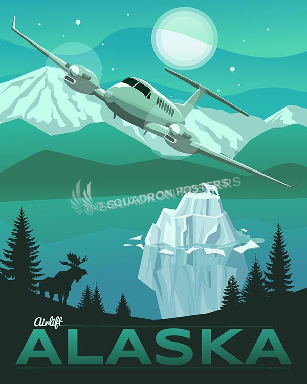 Alaska C-12 16x20 SP00453-vintage-military-aviation-travel-poster-art-print-gift