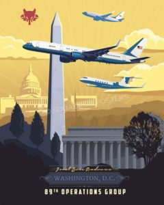 Andrews AFB 89th Operations Group Andrews_AFB_C-37_C-32_C-40_89th_OG_SP01268-featured-aircraft-lithograph-vintage-airplane-poster-art