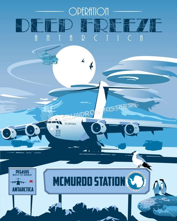 McMurdo Station Antarctica C-17 antarctica_pegasus_c-17_sp01189-featured-aircraft-lithograph-vintage-airplane-poster-art