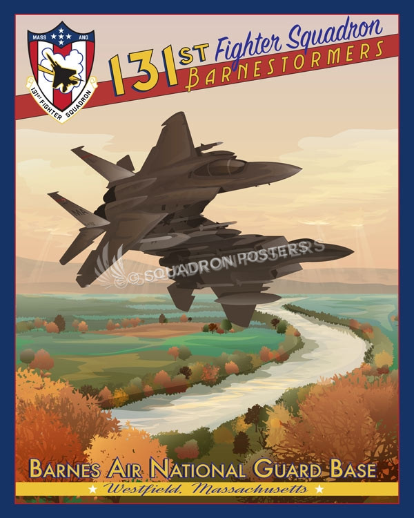 Massachusetts ANG Barnes_ANG_F-15_131st_FS_SP00849-featured-aircraft-lithograph-vintage-airplane-poster-art