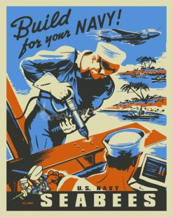 Build for your navy seabees SP00598 Military Naval Poster Art Print