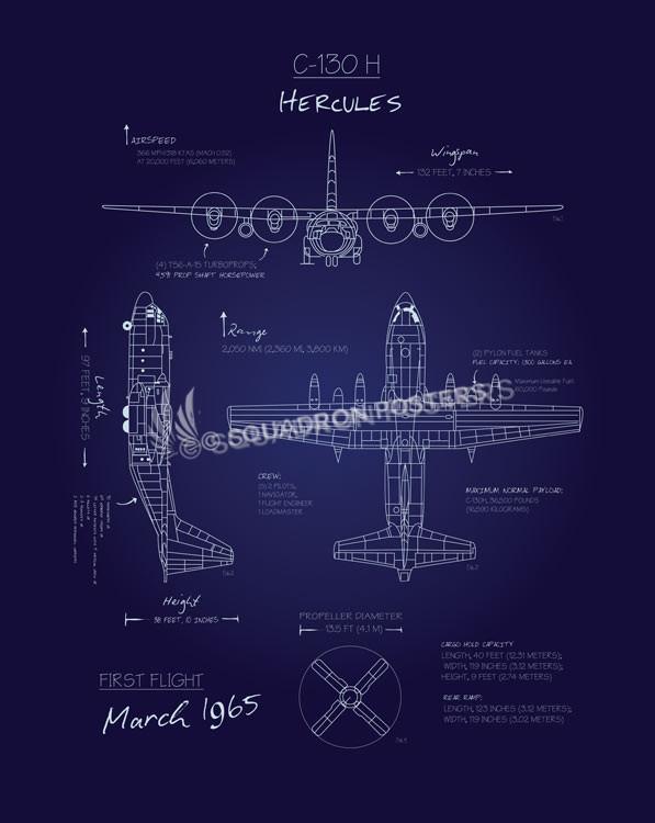 C 130h blueprint art squadron posters c 130h blueprint sp00636 feature vintage print malvernweather Image collections