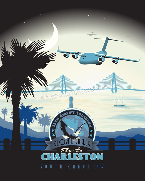 Charleston C-17 15th Airlift Squadron poster art