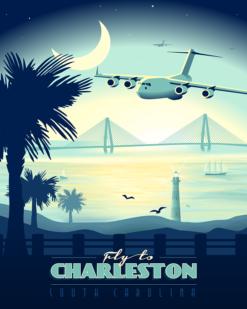 Charleston AFB C-17 vintage aviation artwork