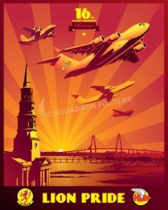Charleston C-17 16th Airlift Squadron Charleston_C-17_16th_AS_SP01299-featured-aircraft-lithograph-vintage-airplane-poster-art