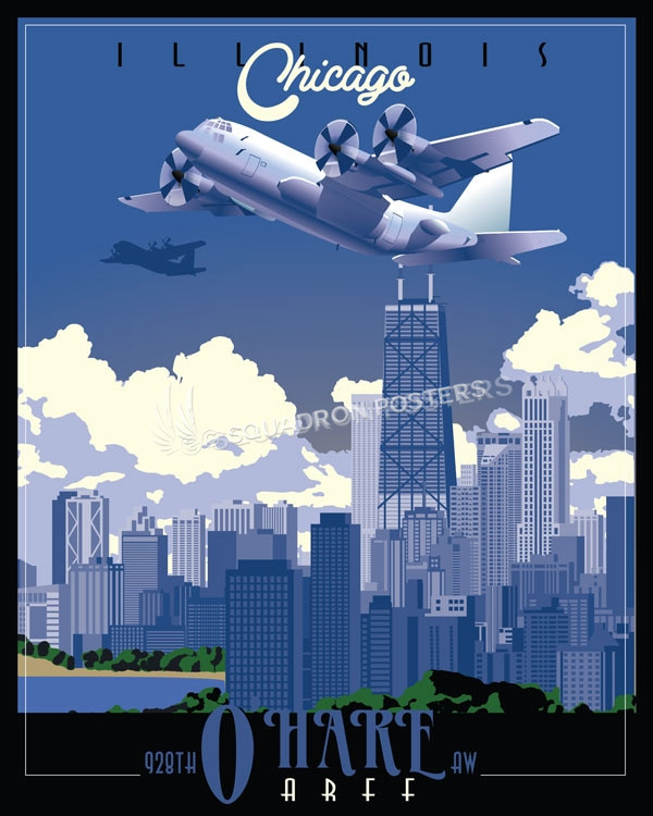 Chicago C-130 928th AW SP00732 featured-aircraft-lithograph-vintage-airplane-poster-prints