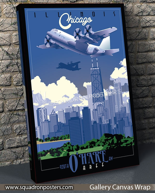 Chicago C-130 928th AW SP00732 vintage-travel-poster-aviation-squadron-print-poster-art