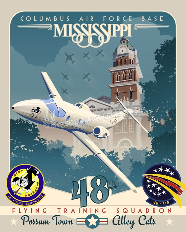Columbus_T-1_48th_FTS_SP01003-featured-aircraft-lithograph-vintage-airplane-poster-art