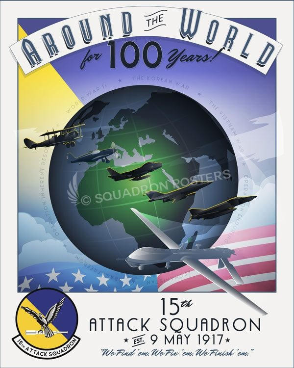 15th Attack Squadron 100th Anniversary Art Creech_AFB_MQ-1B_15_ATKS_100_Anniversary_SP01334-featured-aircraft-lithograph-vintage-airplane-poster-art