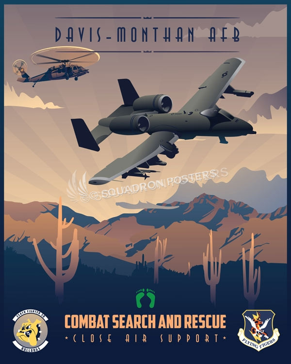 Davis-Monthan AFB, 354th Fighter Squadron davis_monthan_a-10_hh-60_354th_fs_sp01181-featured-aircraft-lithograph-vintage-airplane-poster-art