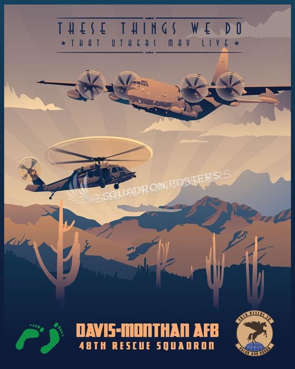 Davis_Monthan_HH-60G_HC-130J_48th_RQS_SP00967-featured-aircraft-lithograph-vintage-airplane-poster-art