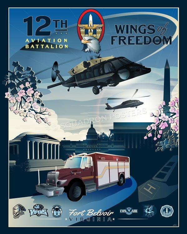 Fort Belvoir 12th Aviation Battalion Davison_AAF_Ft_Belvoir_VH-60_HH-60_12th_AV_BTN_SP01406-featured-aircraft-lithograph-vintage-airplane-poster-art
