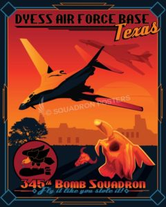 Dyess-AFB-B-1B-345th-Bomb-SQ-SP00955-featured-aircraft-lithograph-vintage-airplane-poster-art