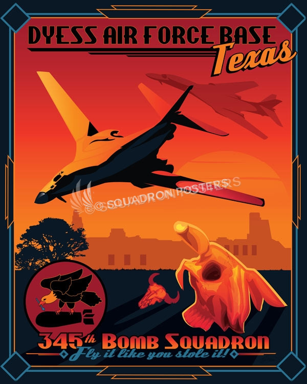 Dyess Afb 345th Bomb Squadron B 1 Lancer Squadron Posters