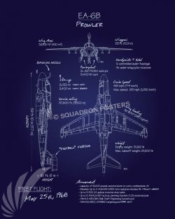 EA-6B Prowler Blueprint Art EA-6B_Prowler_Blueprint_R1_SP01285-featured-aircraft-lithograph-vintage-airplane-poster-art