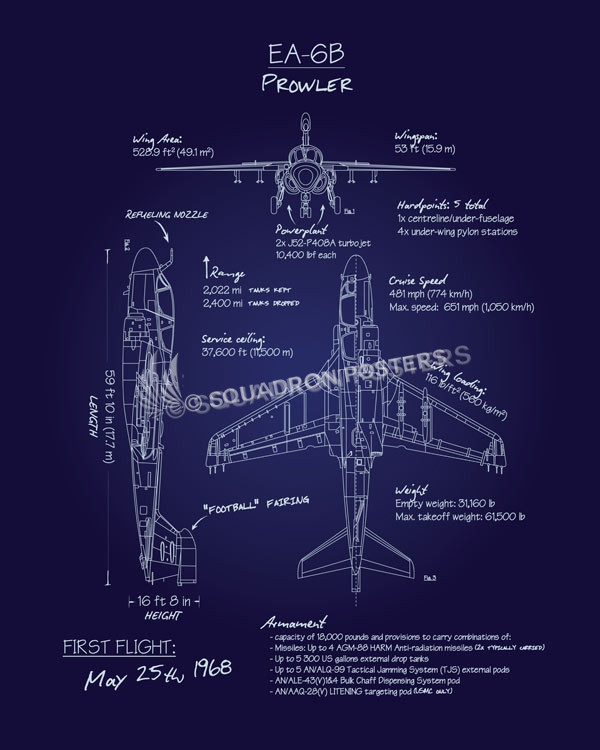 Ea 6b prowler blueprint art squadron posters ea 6b prowler blueprint art ea 6bprowlerblueprintr1sp01285 featured aircraft lithograph malvernweather Gallery