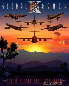 Edwards AFB 418th Flight Test Squadron Edwards_AFB_C-17_418_FTS_SP01470-featured-aircraft-lithograph-vintage-airplane-poster-art
