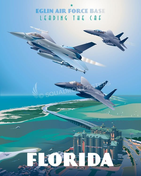 Eglin_AFB_F-15_F-16_85th_TES_Max_Shirkov_SP01533-featured-aircraft-lithograph-vintage-airplane-poster-art
