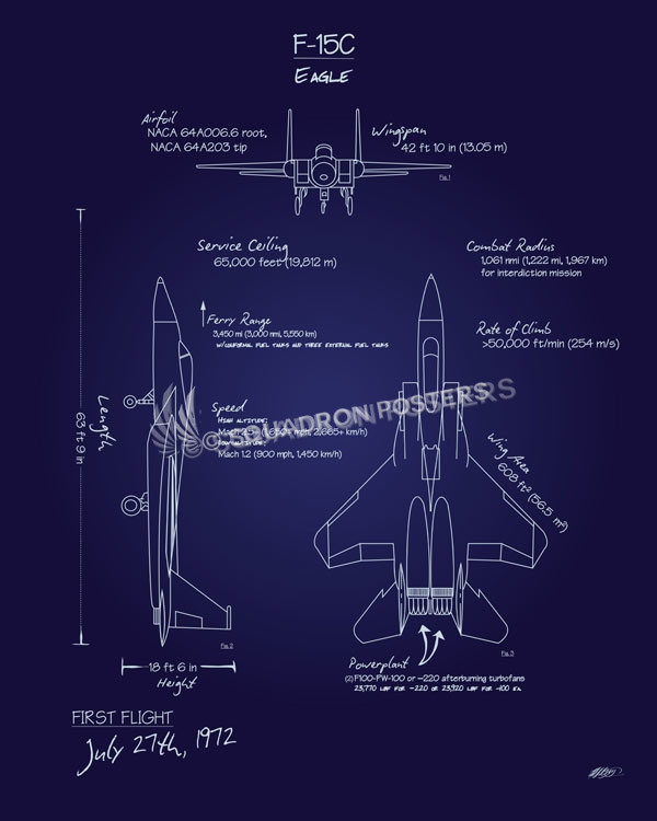 F 15c Eagle Blueprint Art Squadron Posters