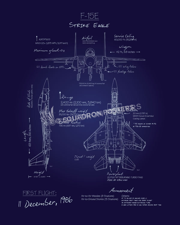F 15e blueprint art squadron posters f 15eblueprintsp00865 featured aircraft lithograph vintage airplane poster malvernweather Gallery