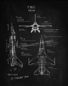 F 16 blueprint art squadron posters f 16cfalconblackboardsp00912 featured aircraft lithograph vintage airplane poster malvernweather Gallery