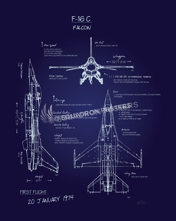 F 16c fighting falcon blueprint art squadron posters f 16cfalconblueprintsp00913 featured aircraft lithograph vintage airplane poster malvernweather Images