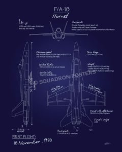 F-18 Hornet Blueprint f-18_hornet_blueprint_sp01152-featured-aircraft-lithograph-vintage-airplane-poster-art