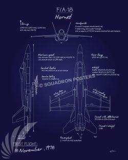 F-18 Hornet Blueprint f-18_hornet_blueprint_sp01152-featured-aircraft-lithograph-vintage-airplane-poster-art
