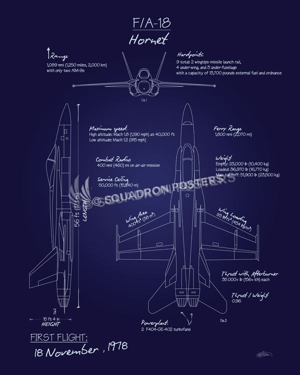 F 18 hornet blueprint art squadron posters f 18 hornet blueprint f 18hornetblueprintsp01152 featured aircraft lithograph vintage malvernweather Images