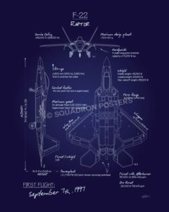 blueprint art squadron posters  f 22_raptor_blueprint_sp00930 featured aircraft lithograph vintage airplane poster