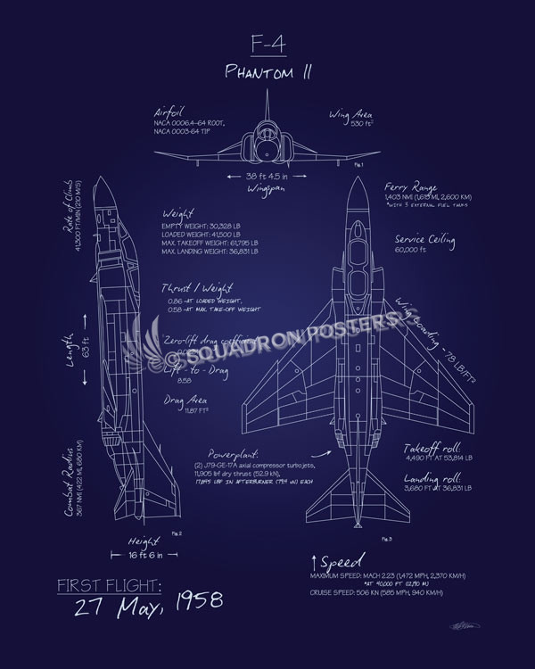 F 4 phantom blueprint art squadron posters f 4 phantom blueprint art f 4phantomiiblueprintsp01245 featured aircraft lithograph malvernweather Images