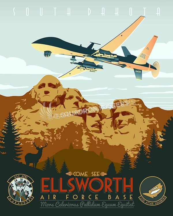 Ellsworth AFB - 432d ATKS, MQ-9 Reaper ellsworth-afb-432d-as-mq-9-reaper-military-aviation-vintage-poster-art-print-gift