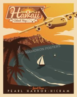 Pearl Harbor-Hickam C-17 Retro Print