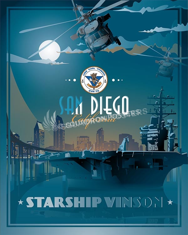 USS Carl Vinson san-diego-uss-carl-vinson-military-naval-poster-art-print