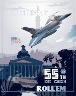 shaw-afb-f-16 55th-fighter-squadron-military-aviation-poster-art-print-gift