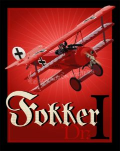 Red Baron, Fokker Dr.I Fokker_Dr._I_SP00754-featured-aircraft-lithograph-vintage-airplane-poster-art