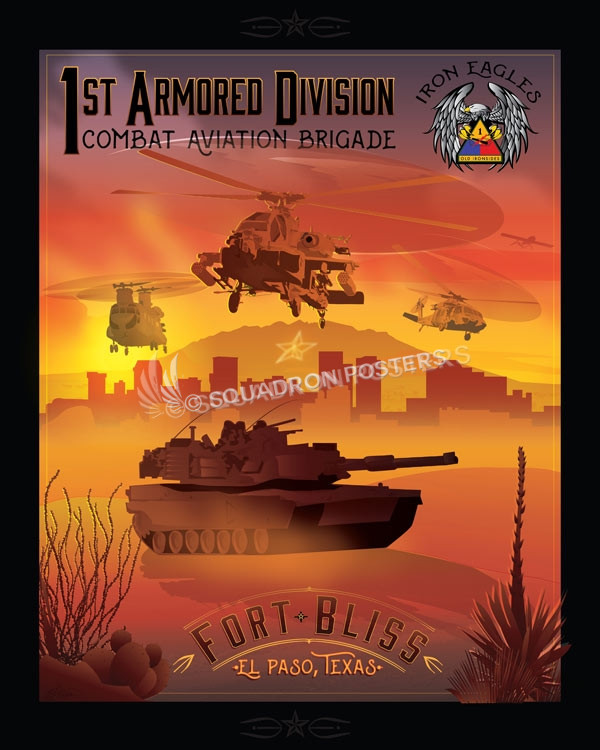 Fort Bliss 1st Armored Division Cab Squadron Posters