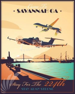 Hunter Army Airfield georgia_emarss_mq-1_224_mi_bn_sp01215-featured-aircraft-lithograph-vintage-airplane-poster-art