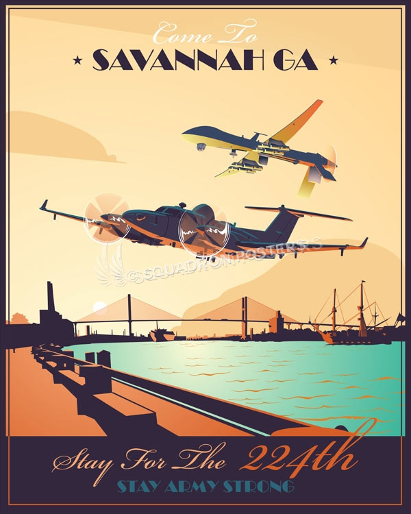 Hunter Army Airfield georgia_emarss_mq-1_224_mi_bn_sp01215-featured-aircraft-lithograph-vintage-airplane-poster-art