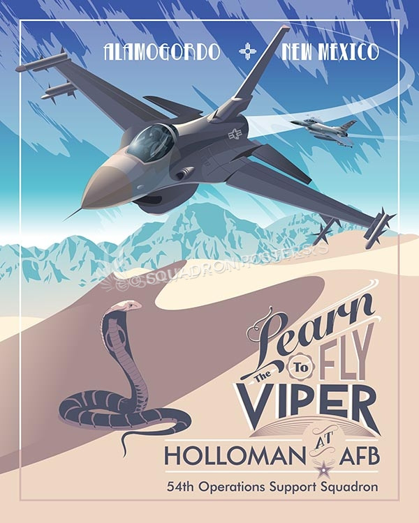 Holloman AFB 54th OSS F-16 V2 holloman-f16-54oss-v2-sp00463-vintage-military-aviation-travel-poster-art-print-gift
