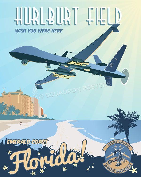 Hurlburt Field 2 SOS MQ-9 Hulburt_MQ-9_2d_SOS_SP01471-featured-aircraft-lithograph-vintage-airplane-poster-art