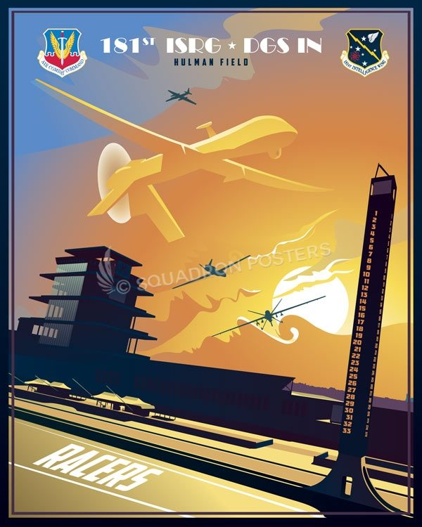Hulman Field Air National Guard Base INDIANA_DGS-IN_SP01321-featured-aircraft-lithograph-vintage-airplane-poster-art