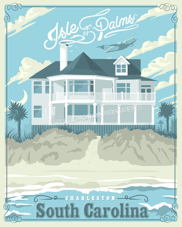 Isle of Palms Travel print SP00704 feature-vintage-print