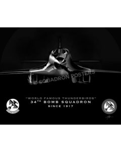 B-1, 34 BS Jet Black Lithograph Jet Black Ellsworth AFB 34th BS B-1b SP01345-FEAT-jet-black-aircraft-lithograph-art